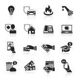 Insieme del nero delle icone del foglio paga Immagini Stock Libere da Diritti