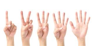 Insieme del numero 1 2 3 4 5 con il segno della mano isolato sul backgro bianco Fotografia Stock