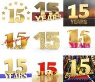 Insieme del numero quindici anni progettazione di celebrazione di 15 anni Elementi dorati del modello di numero di anniversario p royalty illustrazione gratis