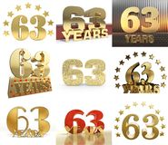 Insieme del numero sessantatre anni progettazione di celebrazione di 63 anni Elementi dorati del modello di numero di anniversari illustrazione di stock