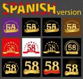 Insieme del numero spagnolo cinquantotto 58 anni illustrazione vettoriale