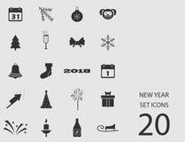 Insieme del nuovo anno delle icone piane Illustrazione di vettore Illustrazione Vettoriale