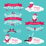 Insieme del nuovo anno e di Natale Nastri, Santa Claus, fiocchi di neve Fotografie Stock Libere da Diritti