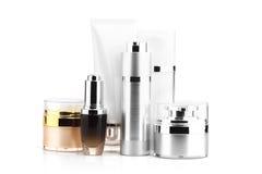 Insieme del pacchetto cosmetico in bianco per progettazione del modello Fotografia Stock