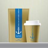 Insieme del pacchetto dei fagioli e del caffè Illustrazione di Stock