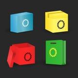 Insieme del pacchetto e della scatola Illustrazione di vettore Fotografie Stock Libere da Diritti