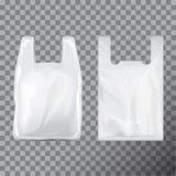 Insieme del pacchetto eliminabile del sacchetto di plastica della maglietta Fondo trasparente isolato illustrazione Derisione di  illustrazione vettoriale