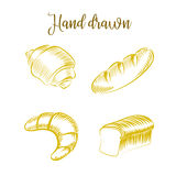 Insieme del pane differente di generi di schizzo disegnato a mano dei prodotti della panificazione Immagini Stock Libere da Diritti