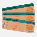 Insieme del passaggio di imbarco di linea aerea Arancio e verde Fotografia Stock
