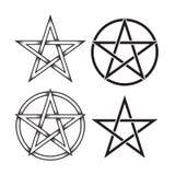 Insieme del pentagramma o pentalpha o pentangle Il simbolo pagano antico del lavoro disegnato a mano del punto della stella a cin Immagini Stock Libere da Diritti