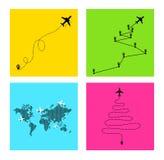 Insieme del percorso dell'aeroplano nella linea punteggiata forma Itinerario dell'aereo Illustrazione di vettore Isolato su prior Fotografie Stock Libere da Diritti