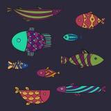 Insieme del pesce di mare sveglio Illsutration di vettore Fotografia Stock