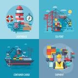 Insieme del piano del porto marittimo illustrazione vettoriale