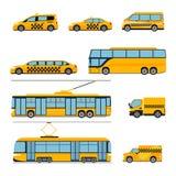 Insieme del piano delle icone di trasporto pubblico della città Urbano Fotografie Stock Libere da Diritti