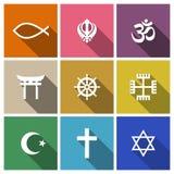 Insieme del piano di simboli di religione del mondo Immagini Stock Libere da Diritti