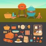 Insieme del picnic di estate Fotografie Stock Libere da Diritti