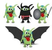 Insieme del pipistrello, di Ninja e del guerriero del mostro del fumetto Fotografia Stock Libera da Diritti