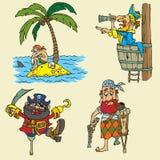 Insieme del pirata del fumetto Fotografia Stock Libera da Diritti