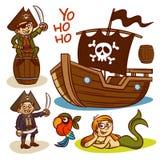 Insieme del pirata Nave mermaid illustrazione di stock