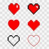 Insieme del pixel dei cuori Immagine Stock