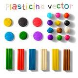 Insieme del plasticine di colore isolato su un fondo bianco illustrazione di vettore 3d Fotografie Stock Libere da Diritti