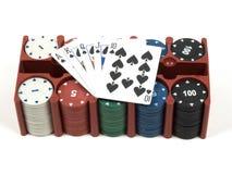 Insieme del poker e delle carte da gioco Fotografia Stock