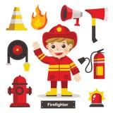 Insieme del pompiere con le attrezzature di protezione antincendio illustrazione vettoriale