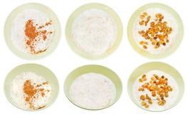 Insieme del porridge inglese tradizionale dell'avena Fotografia Stock