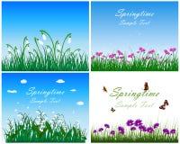 Insieme del prato di primavera Immagini Stock