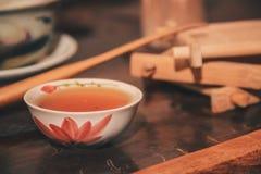 Insieme del primo piano del tè della Cina Fotografia Stock Libera da Diritti
