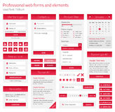 Insieme del professionista dei form e degli elementi di web su ligh Fotografia Stock