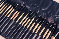Insieme del professionista delle spazzole di trucco in caso di cuoio Fotografie Stock