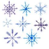 Insieme del quadrato di natale dell'acquerello Ornamento del nuovo anno con neve ed il fiocco di neve Per progettazione, la stamp Fotografie Stock Libere da Diritti