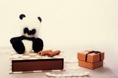 Insieme del regalo con il giocattolo tricottato fatto a mano Immagine Stock