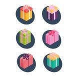 Insieme del regalo della scatola, stile isometrico Fotografia Stock Libera da Diritti