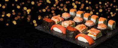 Insieme del rotolo di sushi Fotografia Stock