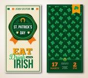 Insieme del saluto d'annata del giorno di St Patrick felice Immagini Stock Libere da Diritti