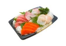 Insieme del sashimi isolato su priorità bassa bianca Fotografia Stock