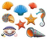 Insieme del Seashell royalty illustrazione gratis