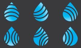 Insieme del segno blu della goccia di acqua di Logo Template Water Drop Icon della goccia di acqua fotografia stock