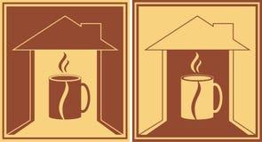 Insieme del segno con la tazza di caffè Fotografie Stock