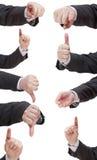 Insieme del segno del dito dell'uomo d'affari - gesto di mano Fotografia Stock
