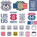 Insieme del segno dell'itinerario 66 Fotografia Stock