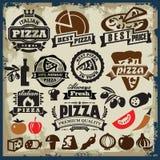 Insieme del segno della pizza Fotografia Stock Libera da Diritti