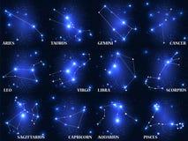 Insieme del segno dello zodiaco di simbolo Illustrazione di vettore Fotografie Stock