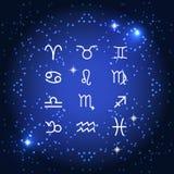 Insieme del segno dello zodiaco di simbolo Illustrazione di vettore Fotografie Stock Libere da Diritti
