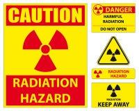 Insieme del segno di rischio di radiazione Fotografia Stock