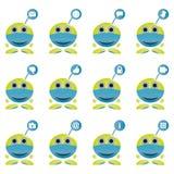 Insieme del simbolo della mascotte che mostra le icone di media e di tecnologia sociale Fotografia Stock