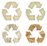 Insieme del simbolo di riciclaggio di carta isolato Fotografia Stock Libera da Diritti