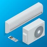 Insieme del sistema del condizionatore d'aria isolato su fondo Illustrazione isometrica piana di vettore 3d Fotografia Stock